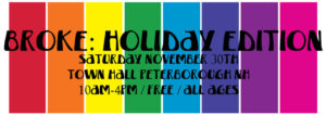 Holiday Fair printed on a rainbow background