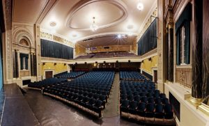 View from the stage of theater seats and balcony