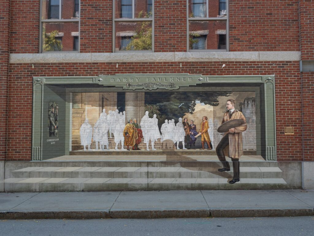 Mural by Barry Faulkner in Keene, painted on brick building