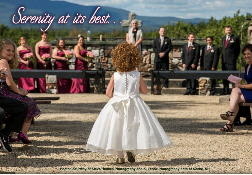 Wedding at outdoor chapel at the Cathedral of the pines with Mt. Monadnock in the background and a flower girl shown from the back