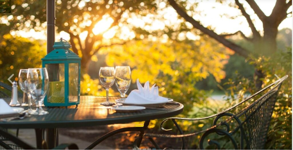 Outdoor table set at Chesterfield Inn