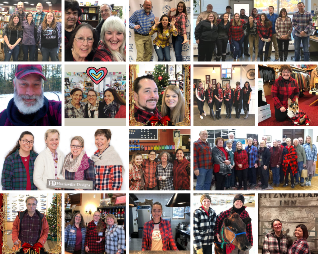 Collage of people wearing plaid shirts