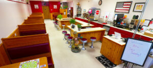 Booth and counter seating in diner