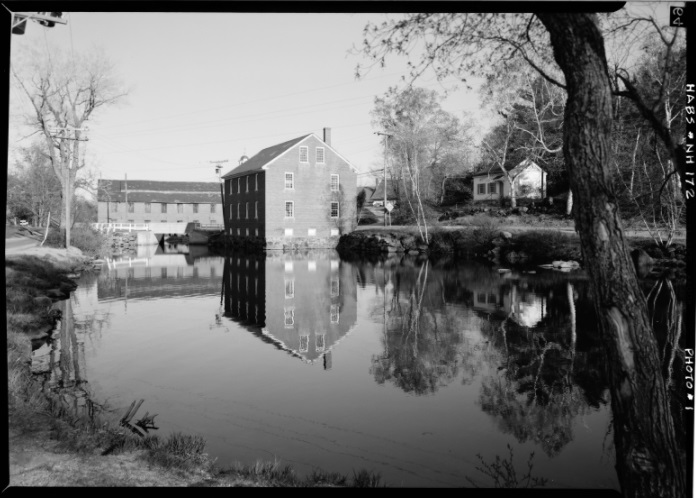 Harrisville as shown with reflections of the mill buildings in the lake (1969)