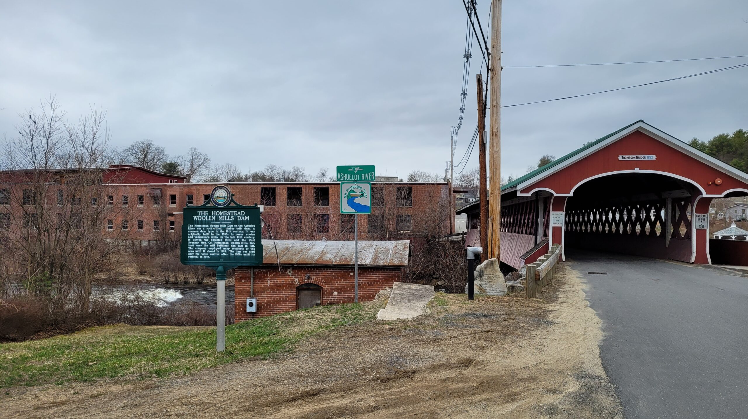 Homestead Mill with Ashuelot River and Thompson Covered Bridge visible