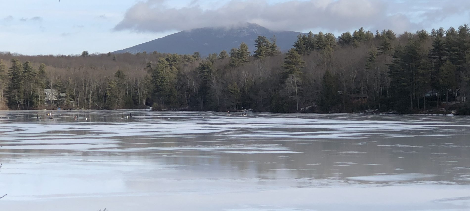 Icy pond with trees and mountain