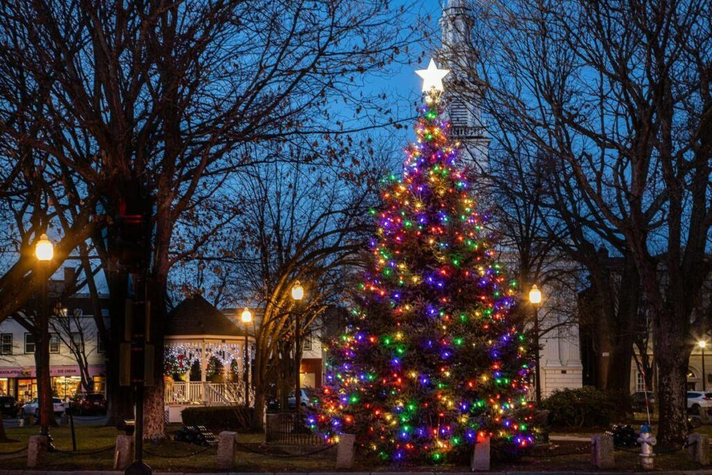 Downtown Keene Central Square with beautiful lighted Christmas tree