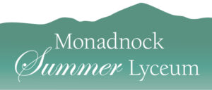 Logo for Summer Lyceum with mountain mpeaks in background