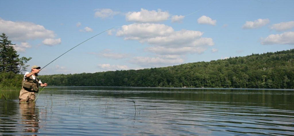 Man standing in a lake up to his thighs, fishing; serene forest in the background (tranquil as the man is the only person visible in the photo)