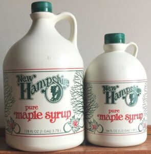 Jugs of New Hampshire maple syrup