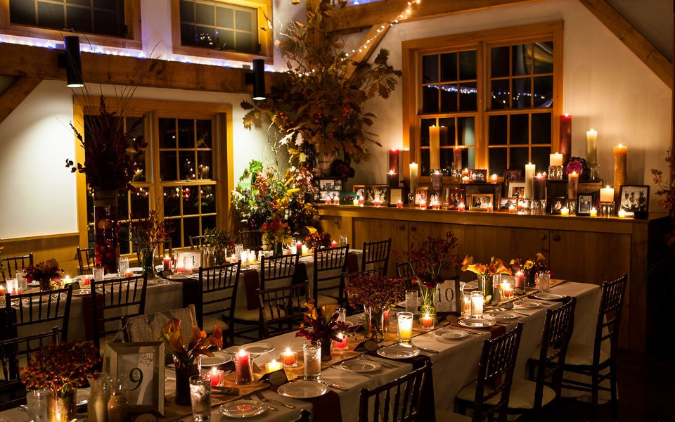 Tables set for a wedding at Stonewall Farm