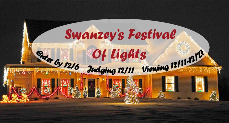 Banner for Swanzey Festival of Lights - building with Christmas lights