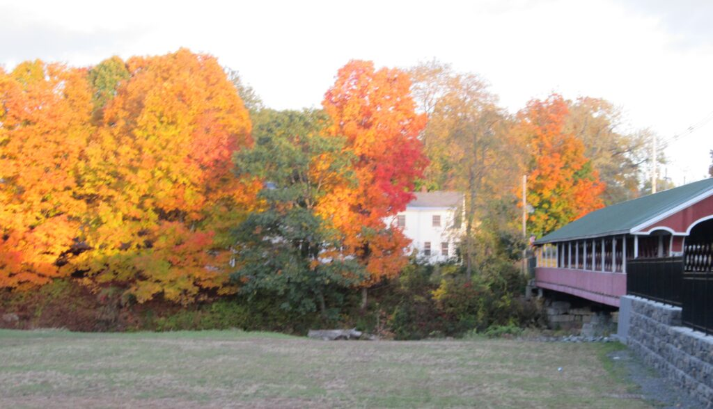 Colorful fall foliage at the Thompson Covered Bridge (Swanzey)