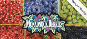 Monadnock Berries sign with painted colorful fruit - open for weddings