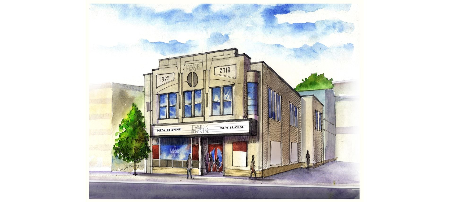 Colored drawing of the front of the Park Theatre