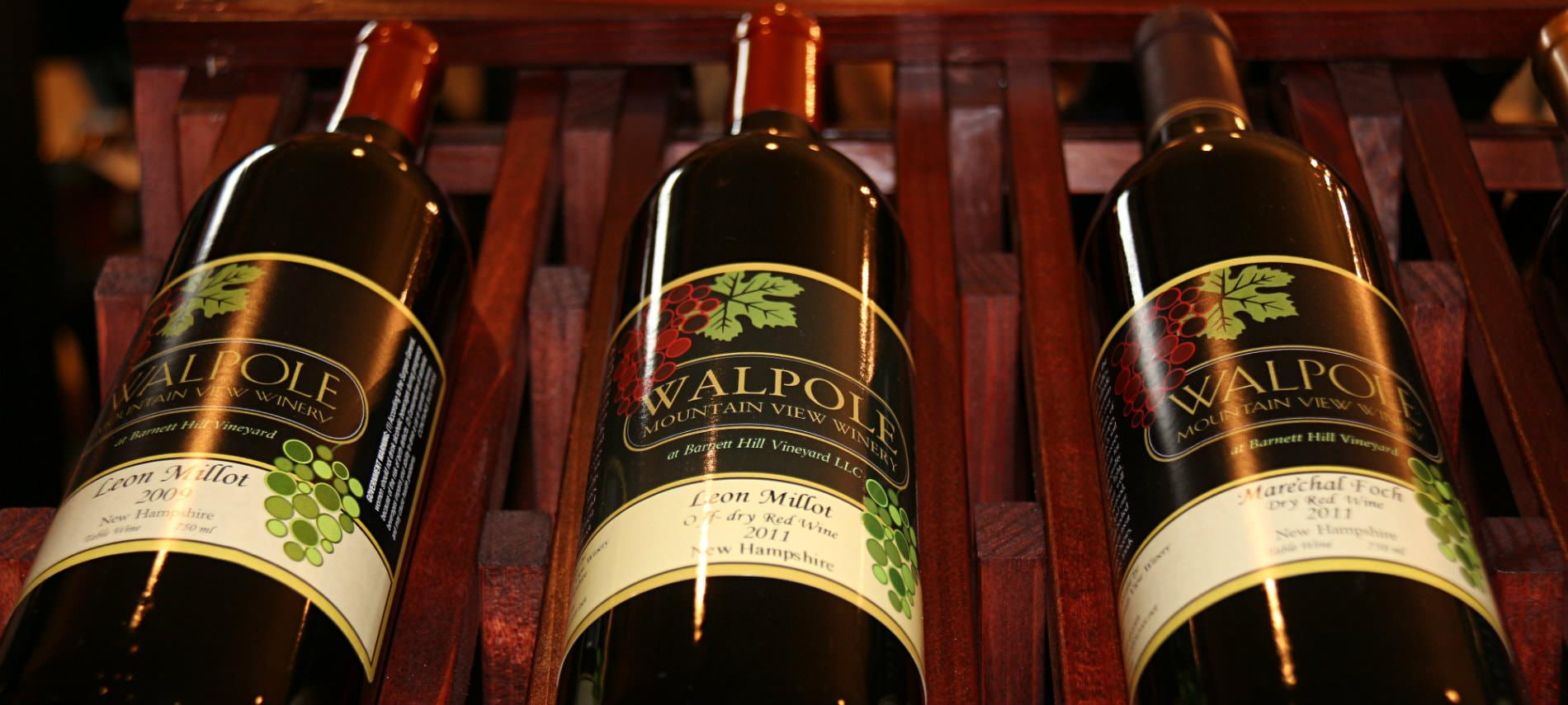 Three bottles of Walpole red wine