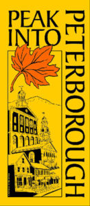 "Yellow and black poster that says, ""Peak Into Peterborough"" with orange leaf and drawing of a building"