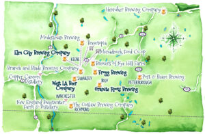 Schematic map shows locations of breweries and distilleries