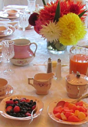 Long rectangular dining table set for breakfast with table cloth, plates and cups, fresh fruit, juice