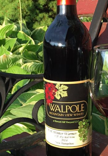 Bottle of Walpole red wine and glass on a bench surrounded by green hostas