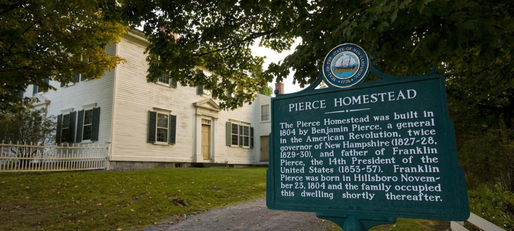 Large white house and Pierce Homestead marker