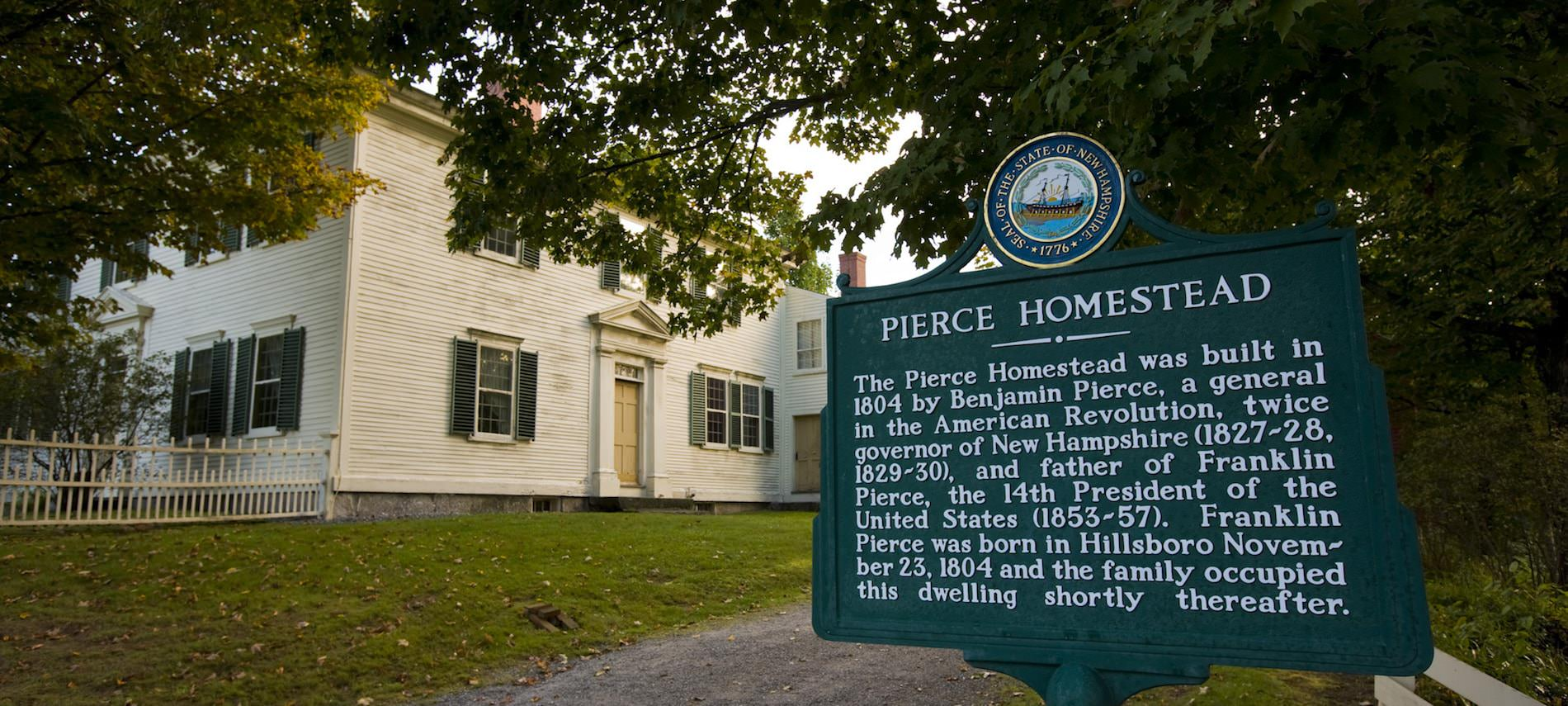 19th Century Benjamin Pierce homestead - side home and exterior sign